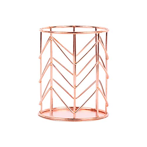 Chris.W Rose Gold Pencil Pen Cup Holder Organizer for Office School Supplies, Wired Metal, 3.15 x 3.94 Inch (Chevron Supplies Office)