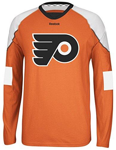 NHL Philadelphia Flyers Men's Edge Long Sleeve Jersey Tee, Orange, Medium