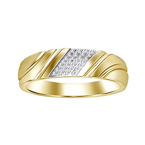 Eternal Bliss 0.03 cttw Round Diamond Accent 10K Solid Yellow Gold Men's Wedding Band Ring (Color - I-J, Clarity -I2) ()