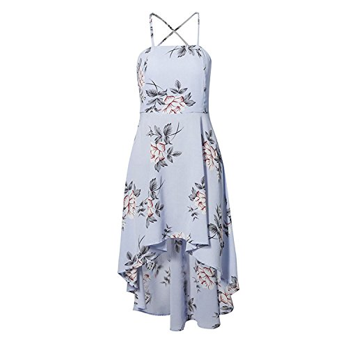 Lily Strapless Floral Print Women Dresses 2018 Summer Party Sexy Backless Boho Beach Ladies,Sky Blue,S