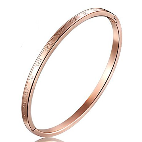 Women 4mm Stainless Steel Channel Set Roman Numerals Rose Gold Wedding Bride Grooved Bangle Bracelet - Rose Gold Chunky Bracelet