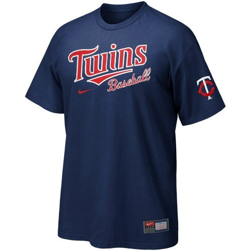 NIKE Minnesota Twins Navy Blue MLB Practice T-shirt (X-Large) ()