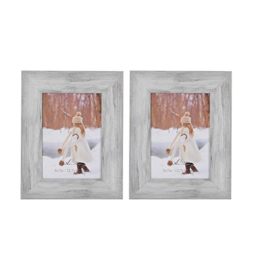 Aike Home Photo Picture Frame 5x7 Inch White Wash Wall Mount Hangers Real Glass and Table Top with Easel Wall Display Horizontally or Vertically 2 Pack ()