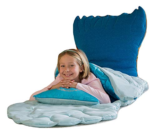 Mermaid Sleeping Bag For Girls, Lucienne Mermaid Sleepover, Slumber Party, Glows in the Dark, Deluxe, story book, decals, carry tote and pillow included! The only one in the world! Lucienne mermaid ()