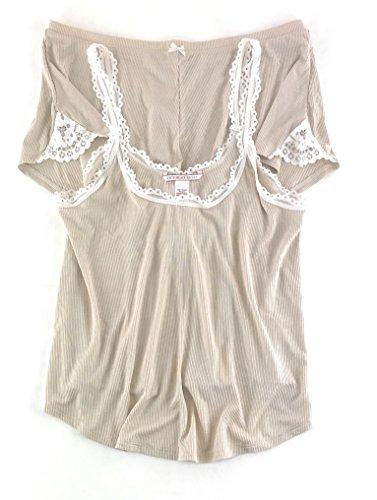 Victoria's Secret Ribbed Cami Tank & Shorts Pajama Set Large Champagne