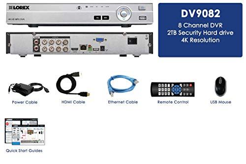 Lorex DV900 Series DV9082 8 Channel 4K HD MPX 2TB Security System DVR