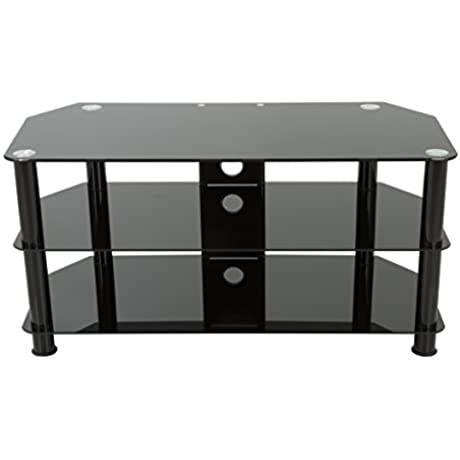 AVF SDC1000CMBB A TV Stand With Cable Management For Up To 50 Inch TVs Black Glass Black Legs