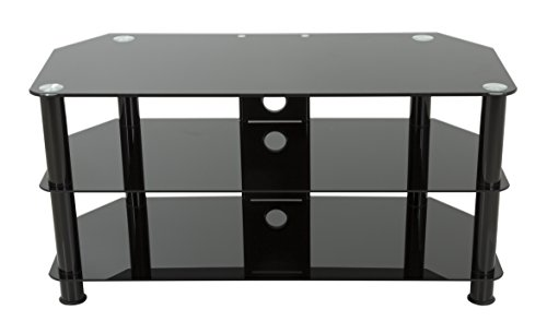 (AVF SDC1000CMBB-A TV Stand with Cable Management for Up to 50-Inch TVs, Black Glass, Black)