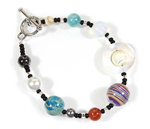 The Nine Planets Bracelet, The Solar System in Assorted Stones, 8 Inches