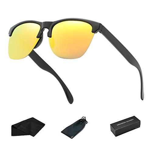 DRAGON CHARM Unisex Semi Rimless Sunglasses Polarized Color Mirror Retro Glasses Black Square Frame Orange Reflective Lens