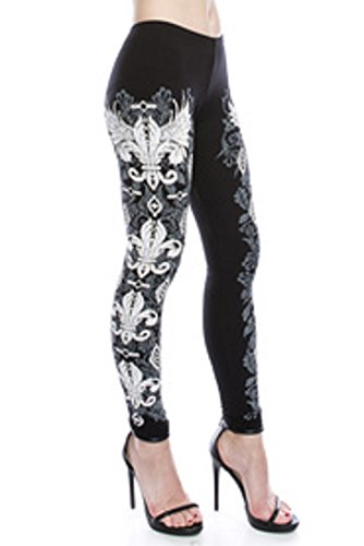 (Leggings with Fleur De Lis Design Embellished with Crystals, 92% Rayon & 8% Spandex, Hand Wash Cold Water Or Dry Clean (Medium) )