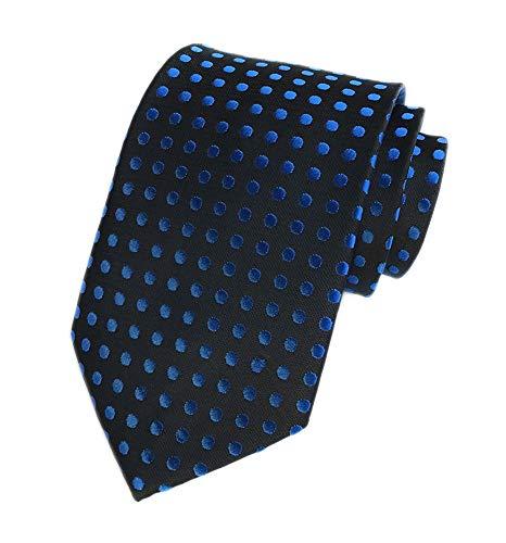 Background Black Necktie (Men Black Silk Ties Royal Blue Polka Dots Self Cravat Extra Long Fashion Necktie)