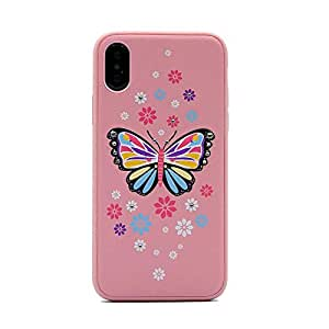 Mutural Fashion Case for iPhone X/Xs Butterfly/Pink color