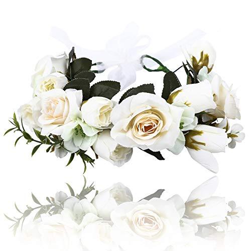 AWAYTR Women Flower Floral Crown-Bohemian Ribbon Adjust Party Wedding Accessorie (White)]()
