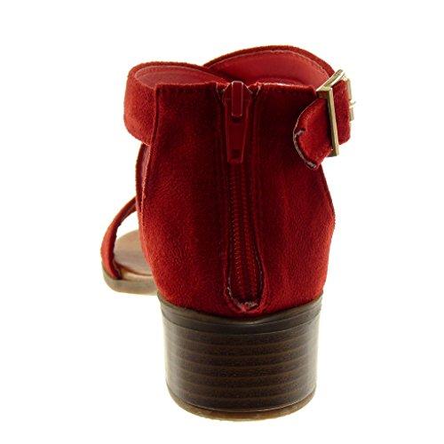 93795c4fed Bloc 4 Sandale Boucle Lanière Femme Cm Chaussure Mode Lanières Croisées  Rouge Haut Angkorly Talon Cheville xwn7gqHnY