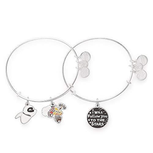 Disney Alex Ani Wall-E and E.V.E. I Will Follow You to the Stars Double Bangle Bracelet Set Silver