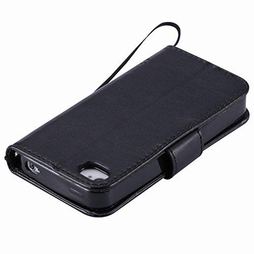 Yiizy Apple Iphone 4 4s Hülle, Baum-Muster Entwurf PU Ledertasche Klappe Beutel Tasche Leder Haut Schale Skin Schutzhülle Cover Case Stehen Kartenhalter Stil Bumper Schutz (Schwarz)
