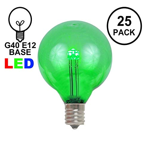 (Novelty Lights 25 Pack G40 LED Outdoor String Light Patio Globe Replacement Bulbs, Green, 3 LED's Per Bulb, Energy Efficient )