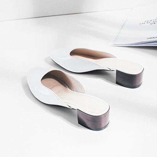 Calaier Dames Caloudly Closed-toe 4cm Blokhak Instap Muilezel Schoenen Wit