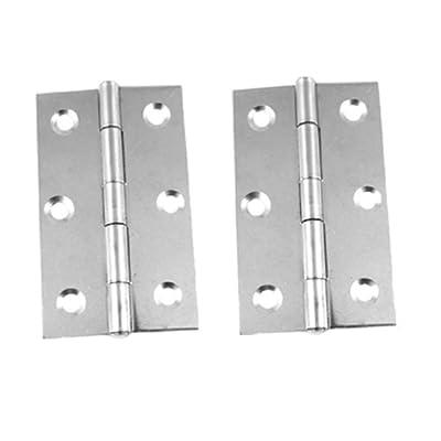 "2 Pcs Silver Tone 3"" Butt Hinge for Door Window Cabinet"