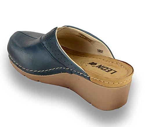 1002 Blu Scarpe LEON Pelle Zoccoli Donna 37 EU Sabot Pantofole HqqF0w