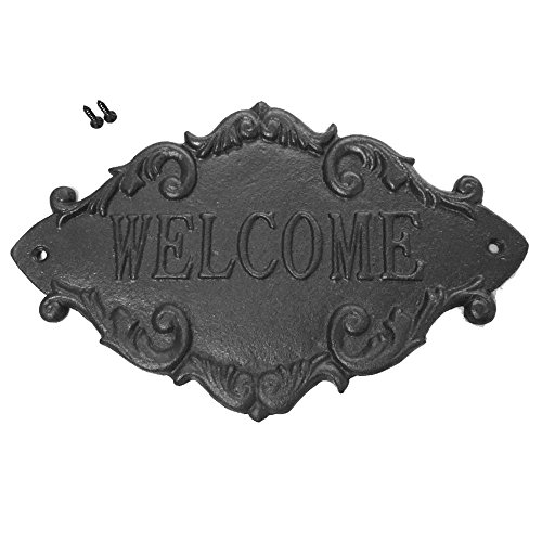 Welcome Sign Plaque (Welcome Sign for Front Door, FS Cast Iron Outdoor Rustic Wall Mount Decorative Plaque for Porch Entrance Gate Home Office)
