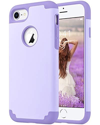ULAK iPhone 8 Case Purple, iPhone 7 Case, Slim Fit Dual Layer Soft Silicone & Hard Back Cover Bumper Protective Shock-Absorption & Skid-Proof Anti-Scratch Case, Purple