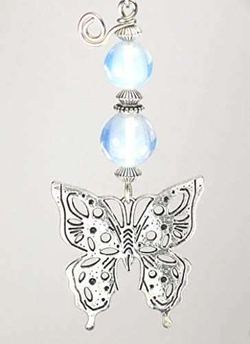 Pull Butterfly Ceiling Fan (Beautiful Silver Butterfly & Opal Faceted Glass Ceiling Fan Pull Chain)