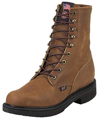 8''H Men x27;s Work Boots, Plain Toe Type, Leather Upper Material, Brown, Size 11-1/2 by JUSTIN ORIGINAL WORKBOOTS (Image #1)