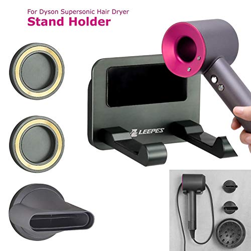LEEPES Wall Mount Holder for Dyson Supersonic Hair Dryer, Separable Diffuser and Two Nozzles, Aluminum Alloy,No Drilling Easy Installation with accessory storage