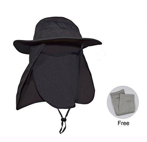 MENXEN Fishing Hat, Neck Face Flap Sun Protection Draughty & Detachable Sun Hat Wide Brim for Outdoor(Dark Grey)