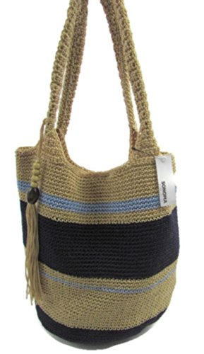 Purse Handles Macrame (Womens Top Handle Blue Stripe Woven Tote Bag Handbag)