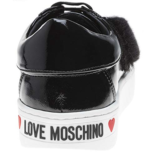 Faux Mode Noir Noir Fur Moschino Sneaker Femme Love Heart Baskets 6B5Hq6Uw