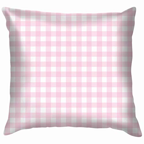 Pink Checkered Tile Pillow Case Throw Pillow Cover Square Cushion Cover 12X12 Inch