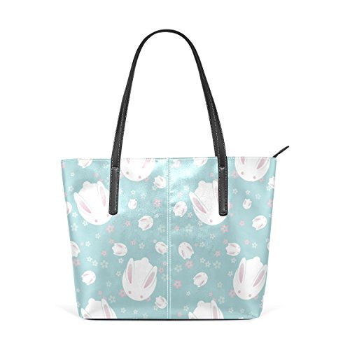 WOZO Japanese Rabbit Bunny Floral Print PU Leather Shoulder Tote Bag Purse for Women Girls