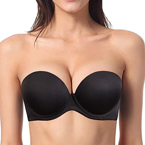 YBCG Push up Strapless Convertible Thick Padded Underwire Supportive Bra for Women's Wedding 34B Black Black 34B