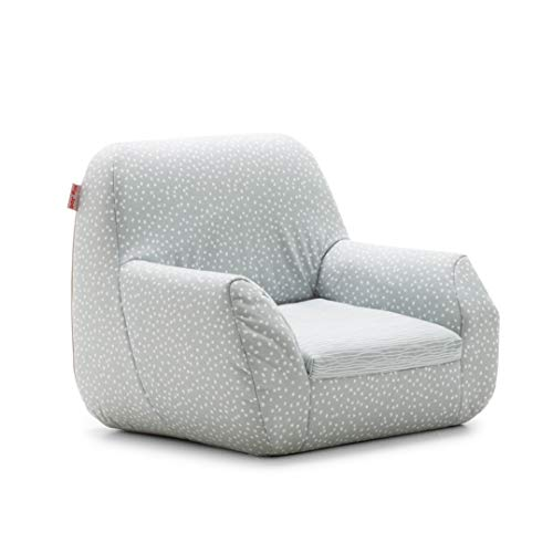 Big Joe 1596687 Mid Mod, Lenox Gray Stripes and Dots Kid's Chair,