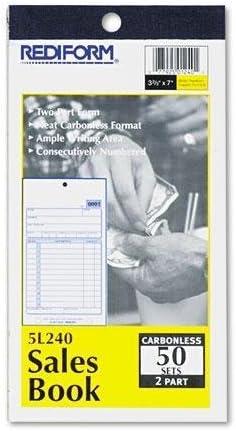 Rediform 5L320 Sales Book 5 1//2 x 7 7//8 Carbonless Duplicate 50 Sets//Book