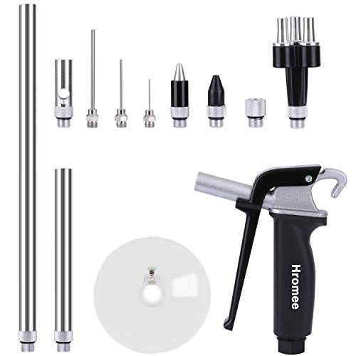 Hromee 12 Pieces High Flow Air Blow Gun Kit with Safe Quiet Xtreme Nozzles Rubber Tip 6/12 Inch Extension Chip Guard and Needles Duster Gun and Air Compressor Accessories