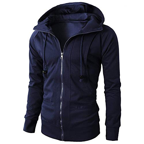 WOCACHI Mens Hoodies Zipper Solid Jacket Pullover Hooded Outerwear Slim Coat Deal Tops Blouse Shirt Autumn Winter