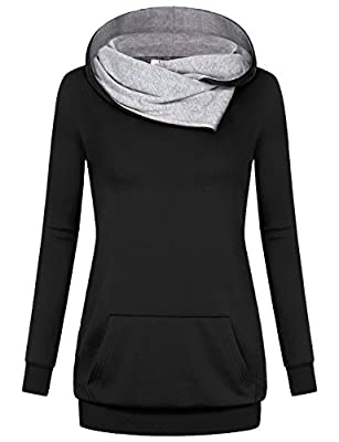 Miusey Women's Cowl Neck Casual Long Sleeve Hoodie Pullover Sweatshirt with Kangaroo Pocket