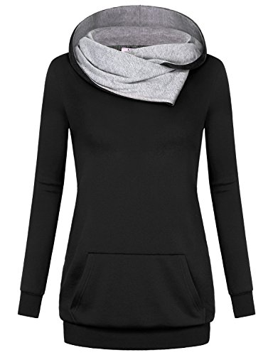 Miusey Cowl Neck Tops for Women, Ladies Long Sleeve Blouse Cotton Tunic Pregnancy Stretchy Fabric Loose Fitted Comfortable Boutique Utility Shirt Hooded Sweatshirt with Pocket Black XL