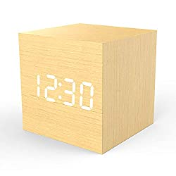 Wooden Digital Alarm Clock Cube Little Clock, Topacom LED Table Clock USB/Battery Powered for Heavy Sleepers, Kids, Bedrooms with Adjustable Brightness Voice Control, Bamboo Color