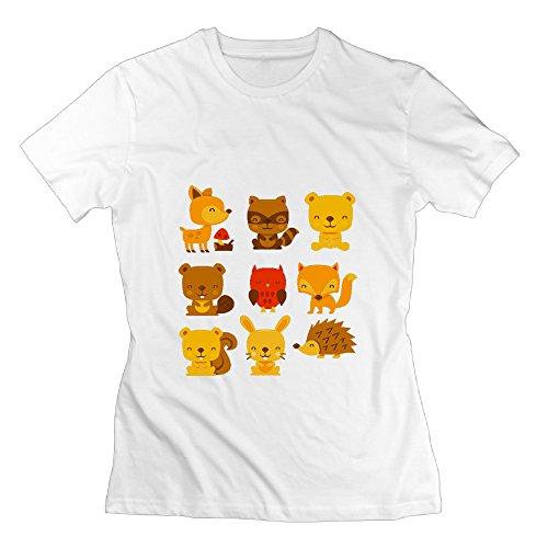 Forest Animals Women's Crewneck Cool Short-sleeve Shirt