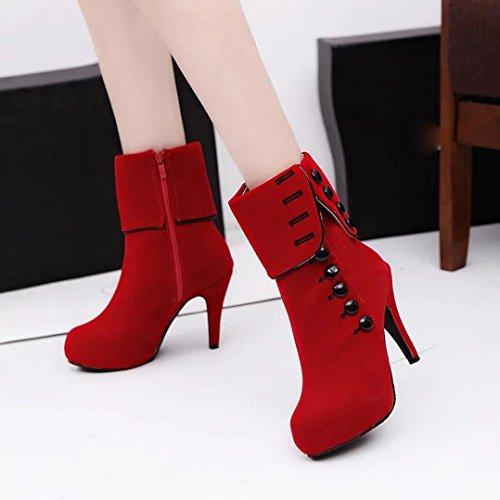 Tefamore Frauen Ankle Boots High Heels Mode rote Schuhe Plattform Schnalle Winter Stiefel Rot