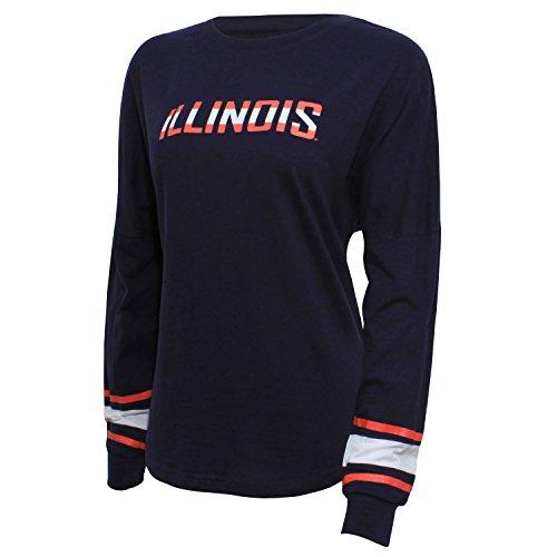 NCAA Illinois Illini Women's Campus Specialties Long Sleeve Fan Tee, Large, Navy