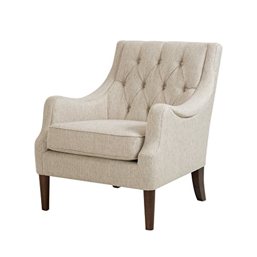 Madison Park Qwen Accent Chairs - Hardwood, Birch, Faux Linen Living Room Chairs - Cream Ivory, Vintage Classic Style Living Room Sofa Furniture - 1 Piece Diamond Tufted Bedroom Chairs Seats ()