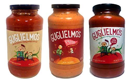 Guglielmo's Pasta Sauce Variety Pack (3) 24 oz Jars - 1 Marinara (Vegan Italian Vegetables), 1 Rosa (Blend of the Marinara and Creamy Parmesan Alfredo), 1 Italian Sausage Meat Sauce
