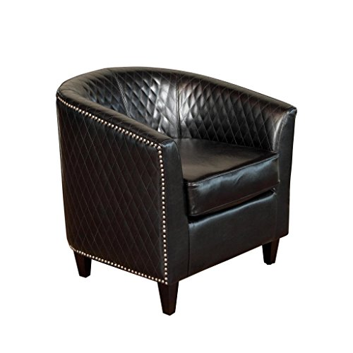 Christopher Knight Home 258161 Mia Bonded Leather Quilted Club Chair, Black