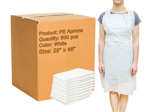 500 Pack White PE Aprons with Extra Long Ties 28 x 46. 2 Mil Disposable Poly Aprons. Liquid-Proof Workwear. Protective Plastic Uniform Aprons for Men, Women. Lightweight, Breathable. Wholesale Price.